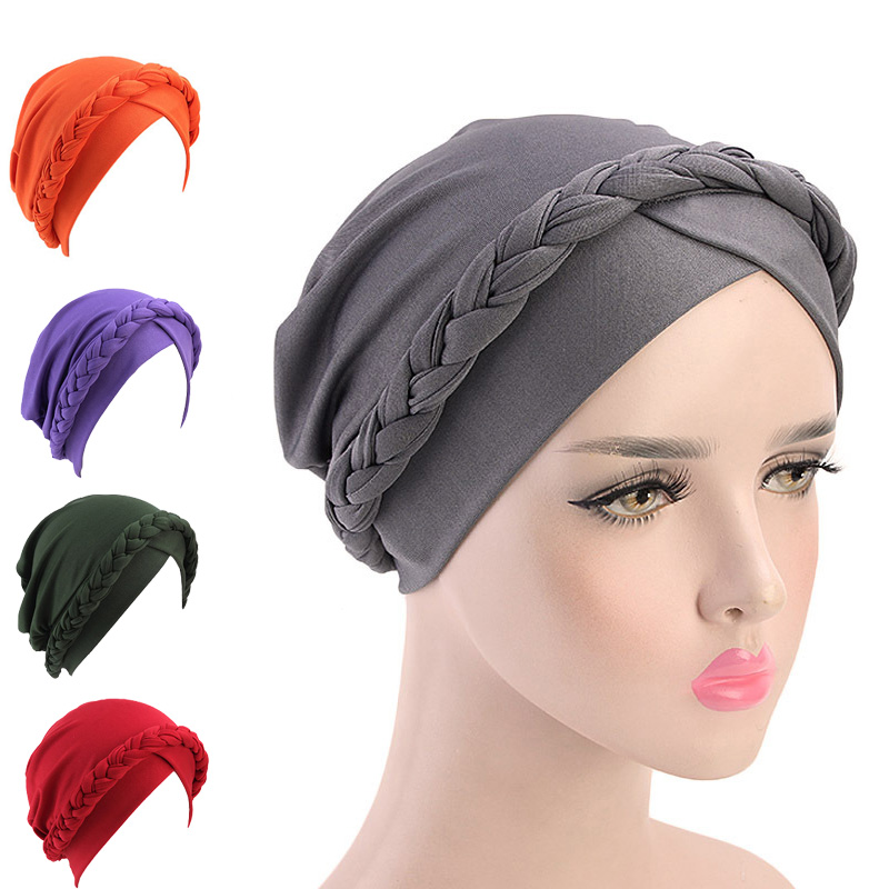 2020 NEW Arrival Retro Women Braid India Caps Muslim Cancer Chemo Full Cover-up  Beanie Hair Loss Turban Femme Wrap