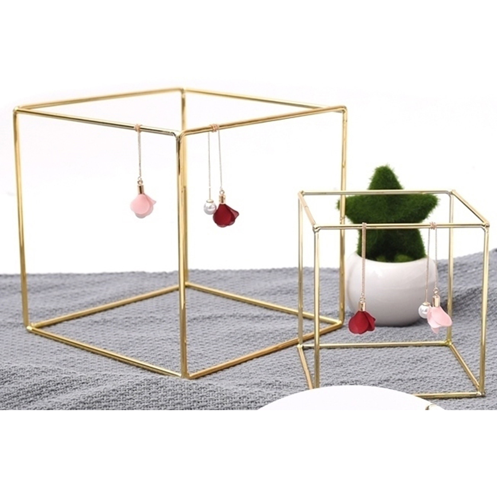 Iron Frame Geometric Showcase Earrings Necklace Hanger Display Organizer