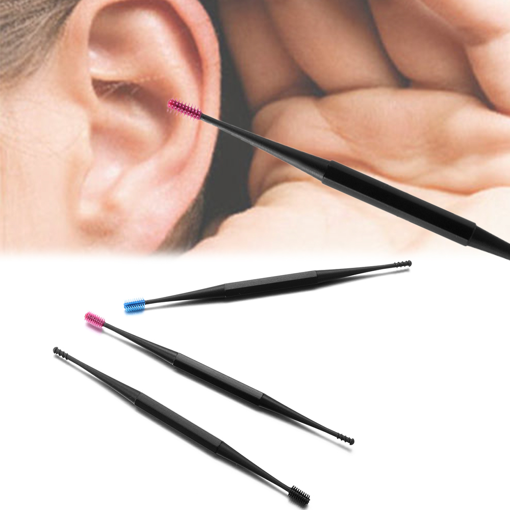 Portable Double-endedSoft Silicone Ear Pick Double-ended Earpick Ear Wax Curette Remover Ear Cleaner Spoon Spiral Ear Clean Tool