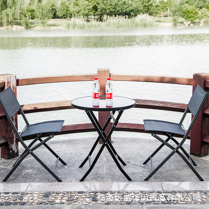 Iron Art Folding Table Outdoor Casual Simple Tempered Glass Small Round Table-Style Office Negotiate Reception Coffee Table