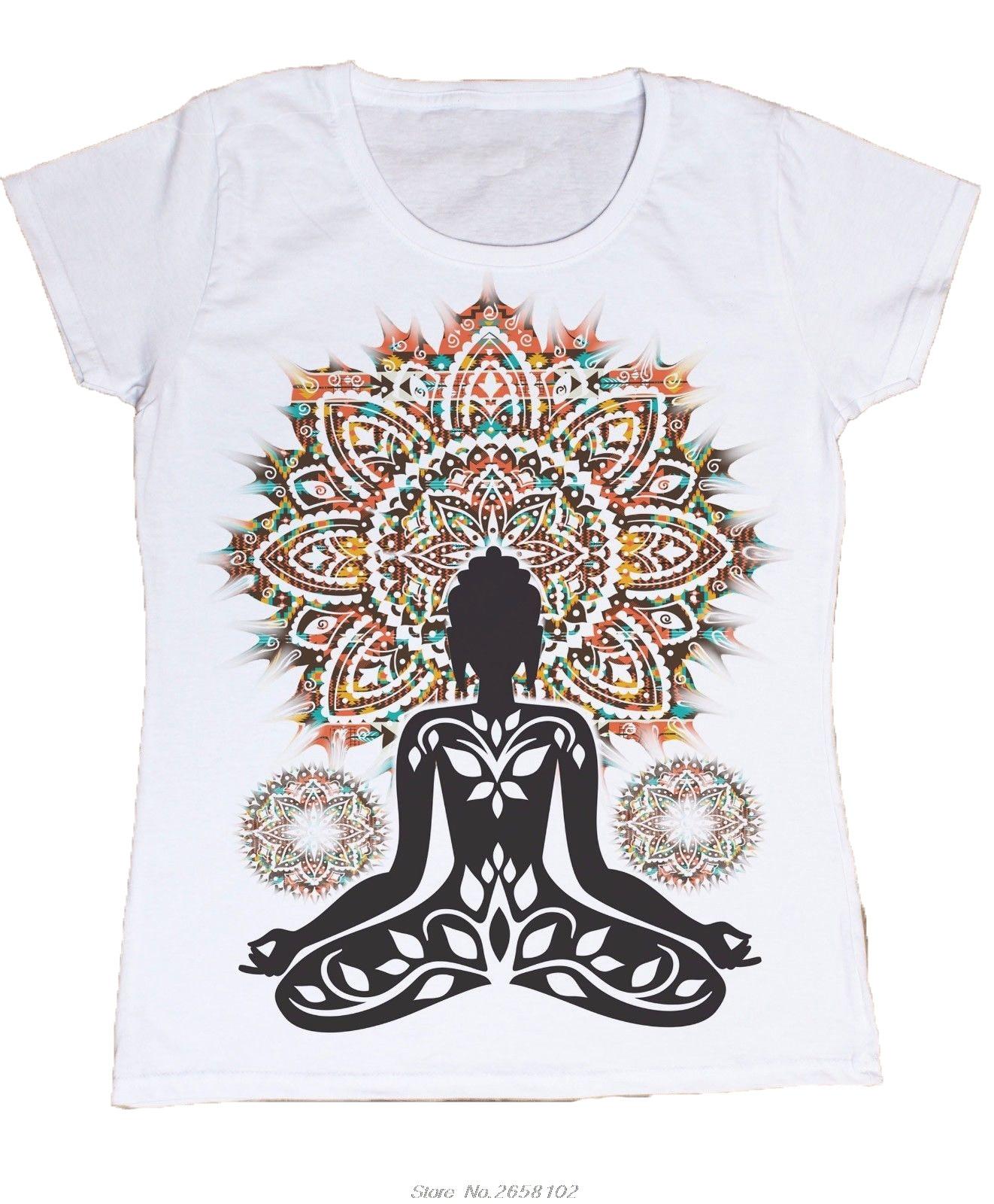 Damen Azteken Yoga Top Buddha Chakra Meditation Zen Hobo Boho Frieden T-Shirt Harajuku Tees