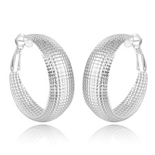 Promotion Sale 925 Silver Color Round Hoop Earrings For Women Fashion Jewelry Accessories  gifts