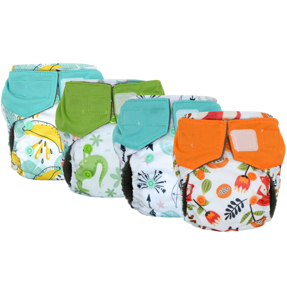 Miababy( 5pcs/lot)newborn All In One Charcoal Bamboo Diaper Waterproof, Breathable And Reusable Easy To Use Same As Disposable B