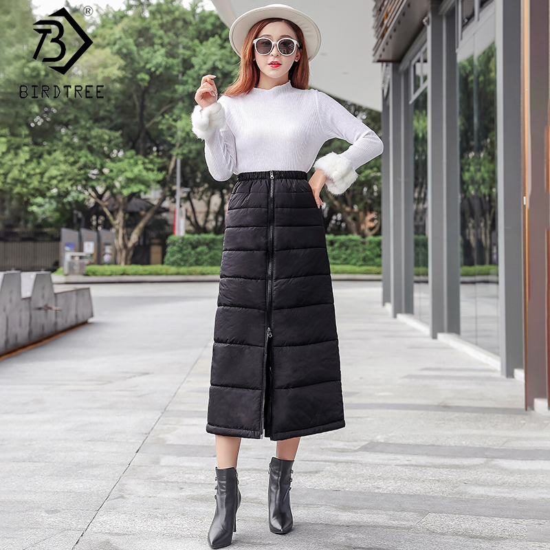 2019 Winter New Arrival Women's Down Skirt A-Line High Waist Zipper Pockets Solid And Warm Casual Thick Midi Skirt B99609K