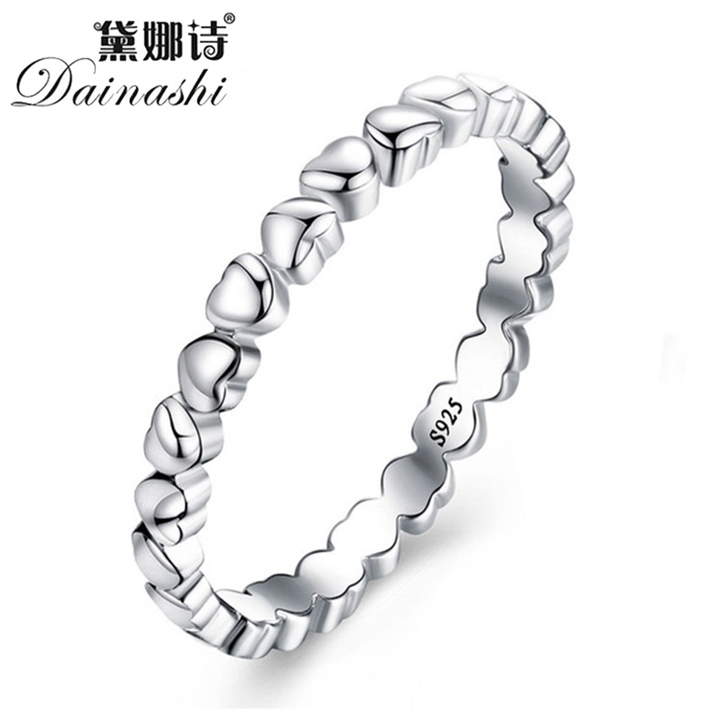 Dainish Silver 925 Jewelry Heart Ring Forever Love Heart Finger Ring  Jewelry Christmas & Valentine's Day Gift Rings For Women
