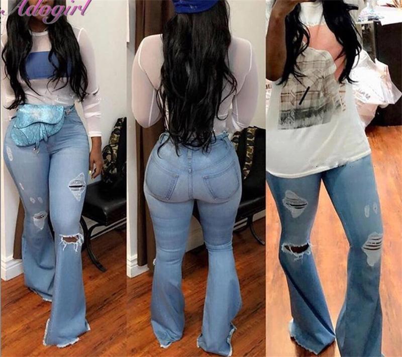 Adogirl Casual Distressed Flair Jeans Women Autumn Slim High Waist Stretch Holes Denim Wide Leg Pants Trousers Streetwear Jeans