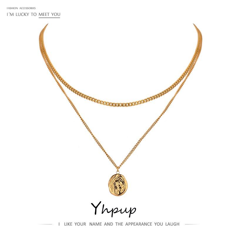 Yhpup 316L нержавеющая сталь многослойное ожерелье, Женские Ювелирные изделия, массивные металлические текстура геометрические ювелирные изде...