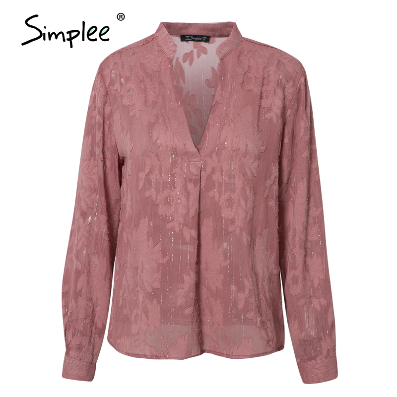 Image 5 - Simplee Casual v neck floral women blouse shirt Sexy long sleeve pink female tops shirt Spring summer office ladies work blousesBlouses & Shirts   -