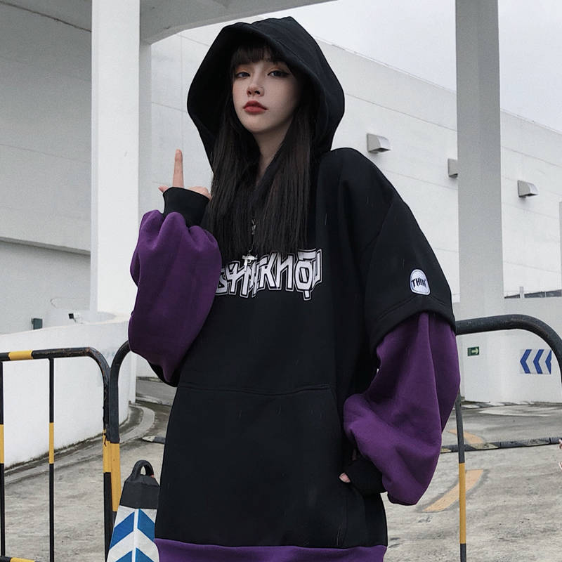 Cool Autumn Harajuku Sweatshirt Women ClothesWinter Letter Print Hoodies Long Sleeve Pullover Oversized Parckwork Hoodie Females
