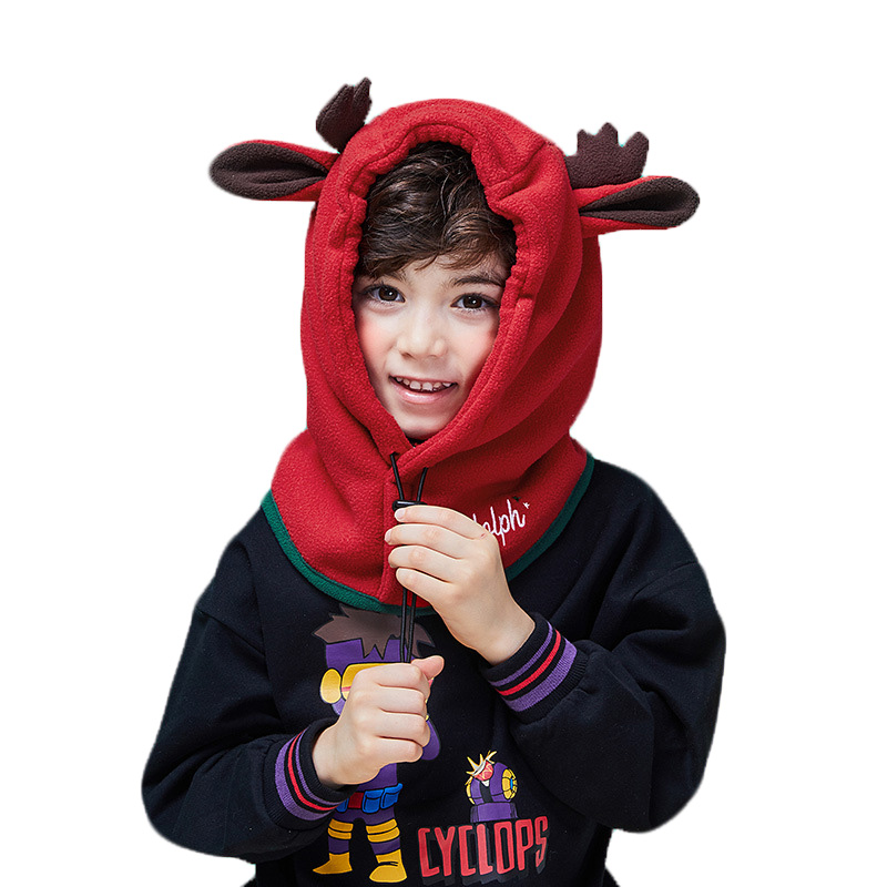 2019 Children's Hat Cartoon Hat Scarf Set For Baby Plush Caps Winter Boys Girls Warm Masked Hood Hats Outdoor Windproof Beanies