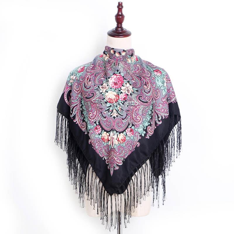 Babushka Scarf Shawls Russian Ukrainian Handkerchief Autumn Womens Head Scarves Traditional Echarpe Print Head Bandana Winter