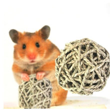 New Arrival Hamster Chew Toys Small Pet Chewing Toy Natural Straw Ball Rabbit Small Pet Toys Rodents Teeth Cleaning Ball Cleaner(China)
