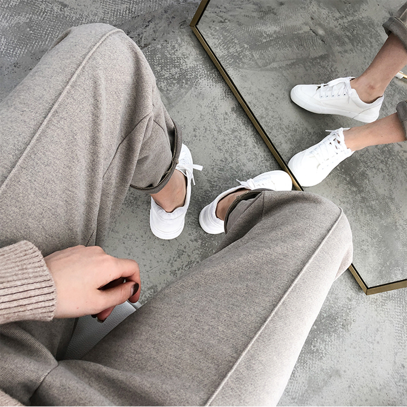 H3185f712fa294d09a4e60d10352e6b88Y - Thicken Women Pencil Pants Autumn Winter Plus Size OL Style Wool Female Work Suit Pant Loose Female Trousers Capris 6648 50