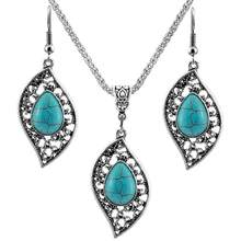 Retro Bohemian Leaf Jewelry Set Charm Silver Crystal Turquoise Pendant Necklace + Hook Earrings Set For Women Wedding Jewelry(China)