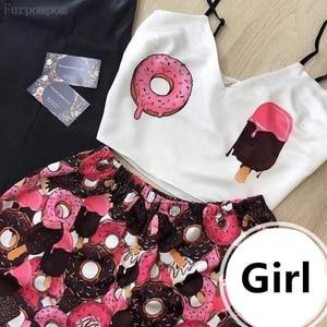 Women's Sleepwear Cute Cartoon Print Short Set Pajamas for Women Pajama Set Sweet V Neck Sleeveless Strap & Shorts Summer Pijama