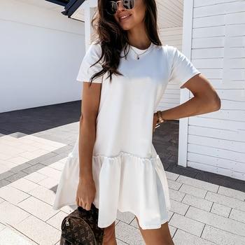Loose Casual Short Sleeve Mini Dress Women 2021 Summer O-neck White Black Ruffles Big Hem Beach Dresses For Woman Femme Robe 1