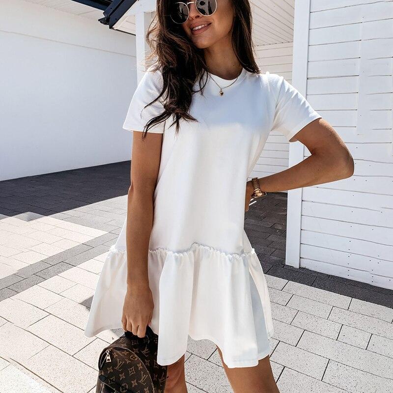فستان قصير فضفاض غير رسمي للنساء 2021 صيفي برقبة دائرية لون أبيض وأسود مكشكش بحافة كبيرة فساتين شاطئ للنساء رداء فام|Dresses| - AliExpress