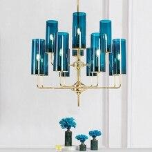 LukLoy, новинка, синяя стеклянная люстра, для спальни, Янтарное стекло, абажур, светильник, Роскошная подвеска для гостиной, ресторана, декоративная лампа