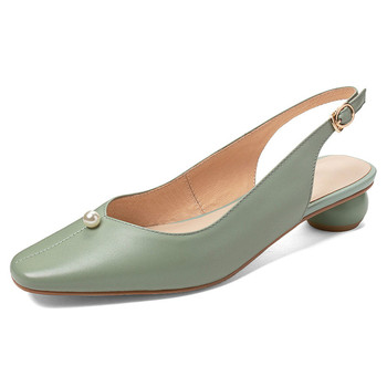 High Heels Women Pumps Genuine Leather Strange Heel Slingbacks Shoes Real Cow Leather Buckle Shoes Lady Plus Size 33 41 42 43