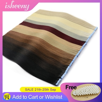 Isheeny Remy Human Hair Tape Extensions Straight 14-22 Skin Weft Seamless Hair Extension For Salon Hair Testing 20/40/80pcs isheeny remy human hair tape extensions straight 12 22 skin weft seamless hair extension samples for salon hair testing