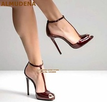 ALMUDENA Women Burgundy Patent Leather T-strap Pumps Stiletto Heels Wine Red Open Toe T-bar Dress Shoes Ankle Buckle Strap Shoes
