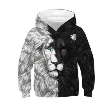 Jesień zima dzieci sportowe bluzy z kapturem lew 3D drukuj dzieci bluza Junior dziecko topy sweter 4-13y chłopiec dziewczyna z kapturem luźny płaszcz tanie i dobre opinie Myth-box Dobrze pasuje do rozmiaru wybierz swój normalny rozmiar CN (pochodzenie) TZ-087 Pełne Z dzianiny POLIESTER Szybkoschnące