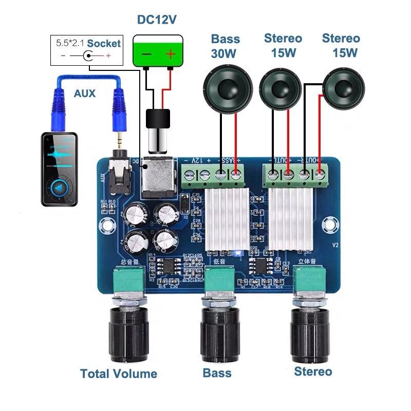 YDA138E 15 Вт + 30 Вт стерео цифровой усилитель плата сабвуфер 2,1 канальный Класс D AMP DC12V