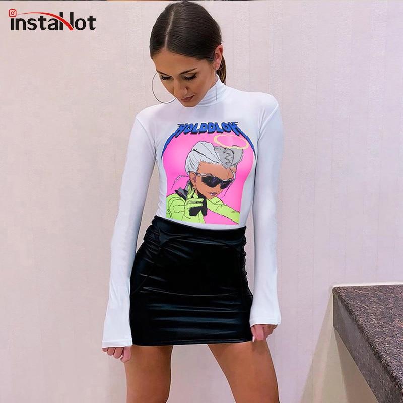 InstaHot Print Turtleneck Bodysuit Long Sleeve White Sexy Casual Party Club Romper Ladies Autumn Top Slim Letter Print Bodysuit