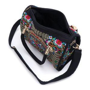 Image 4 - Nouvelle arrivée femmes sac à main brodé à fleurs ethnique Boho toile Shopping fourre tout sac à glissière