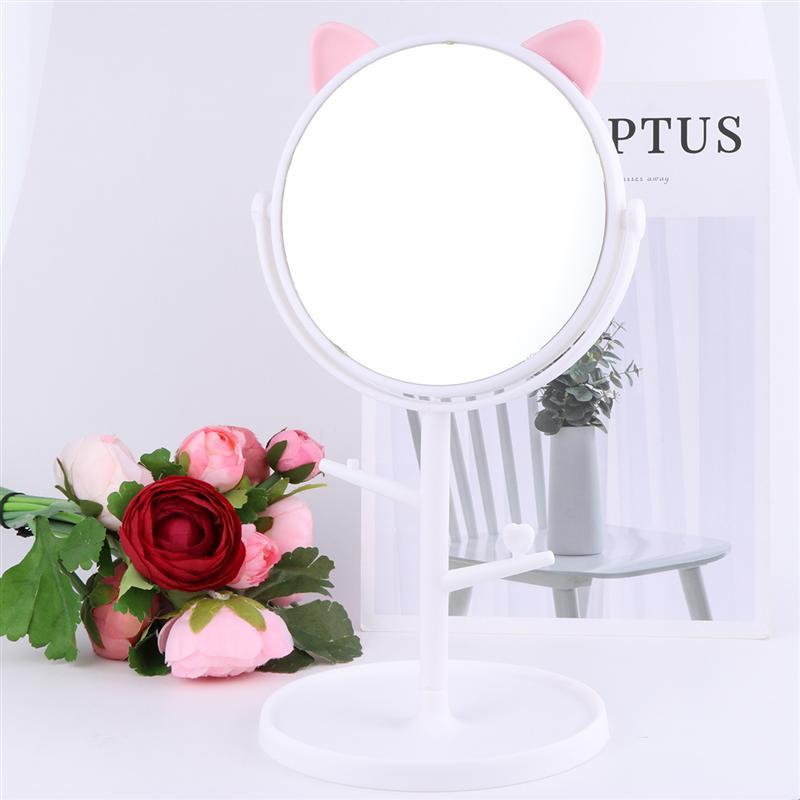 1PC Tabletop Makeup Mirror Cat Ear Design Rotating Vanity Mirror Storage Tray Countertop Mirror (White)(China)