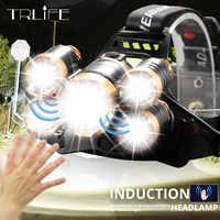 Mächtigsten LED Sensor Scheinwerfer scheinwerfer T6 Kopf Lampe Taschenlampe kopf licht 18650 batterie Beste Für Camping, angeln