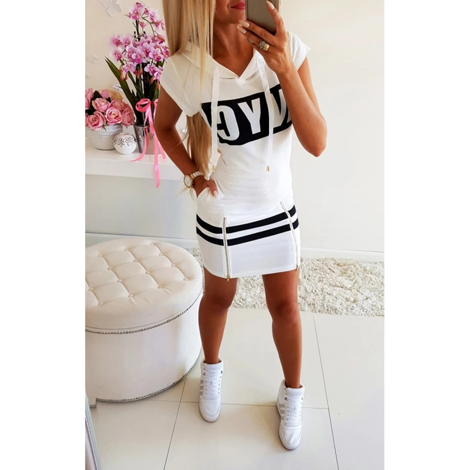 H3186da62feb24dae85456aff9926aee4P - Hooded Women Summer Dress Short Sleeve Letter Print Zipper Hoodies Lady Dress Fashion Female Thin Mini Dress vestidos