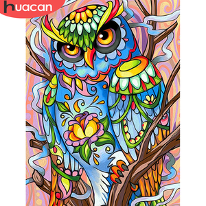HUACAN Full Square/Round Diamond Painting 5d DIY Owl Diamond Embroidery Mosaic Sale Animal Handmade Gift Wall Art