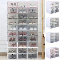 1pc caixa de sapatos flip engrossado transparente gaveta caixa de sapato de plástico caixas empilháveis organizador caixa de sapato de armazenamento rack xb66|Sapateiras e organizadores de sapato| |  -