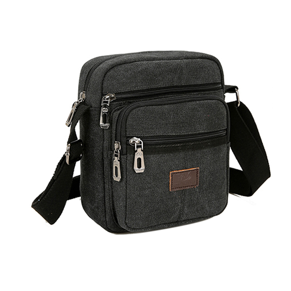 Men Crossbody Retro Shoulder Bag Casual Outdoor Adjustable Strap Travel Canvas Gift High Density Anti Wrinkle Multi Pockets