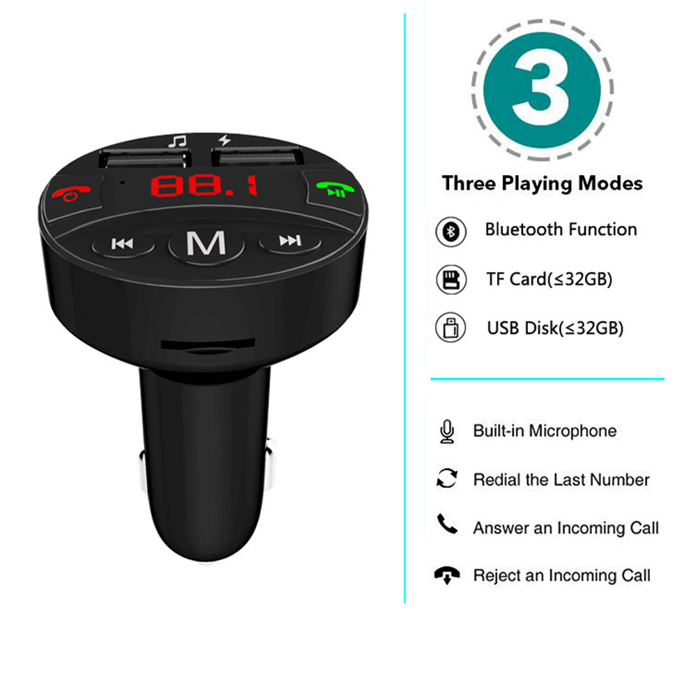 Dual USB Handsfree <font><b>Bluetooth</b></font> <font><b>Car</b></font> Audio <font><b>FM</b></font> <font><b>Transmitter</b></font> Radio <font><b>Charger</b></font> TF Card <font><b>MP3</b></font> Player Wireless Accessories Power <font><b>Adapter</b></font> image