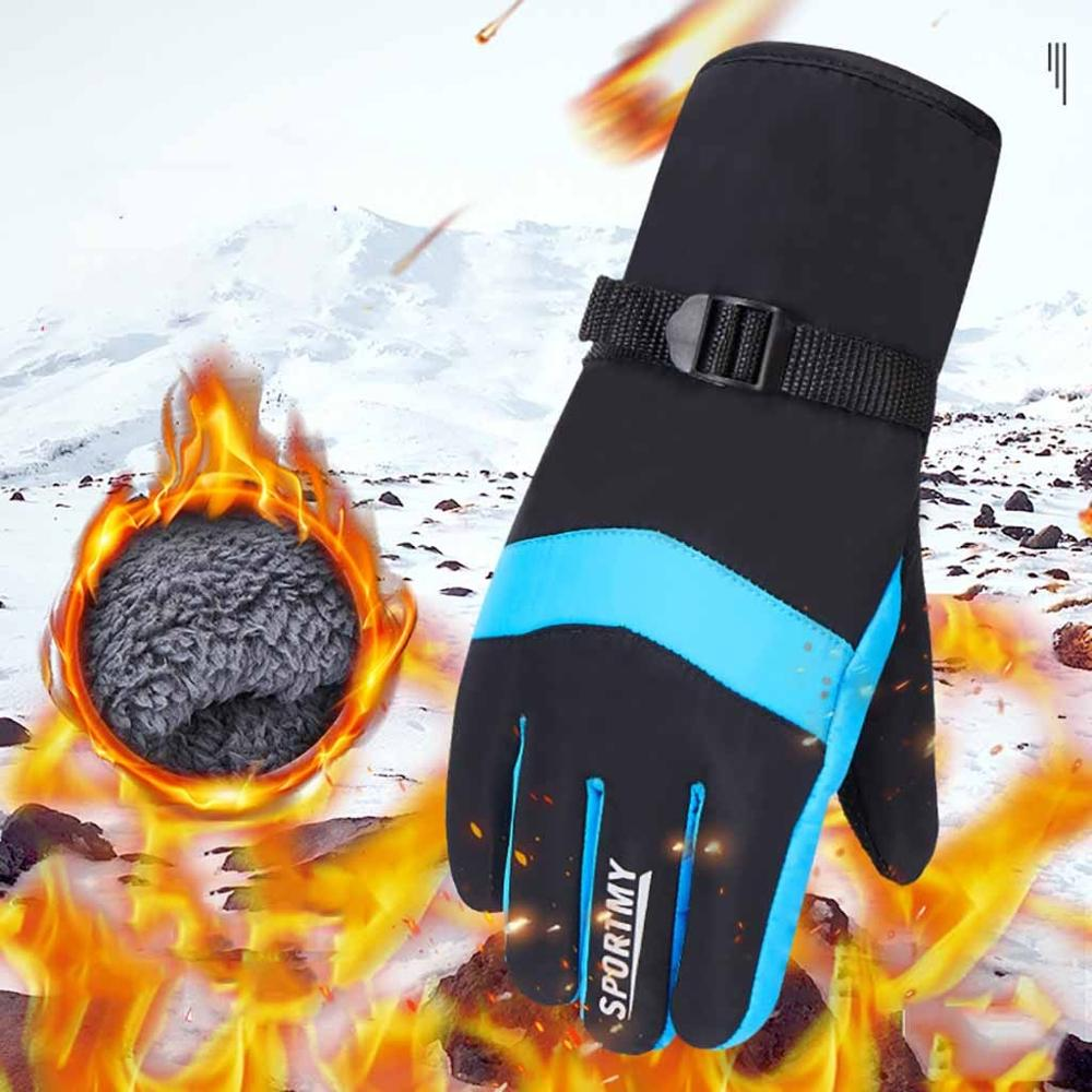 Winter Ski Gloves Men's Plus Velvet Thickened Cold And Windproof Outdoor Riding Motorcycle Bike Ski Warm Cotton Gloves 30S20