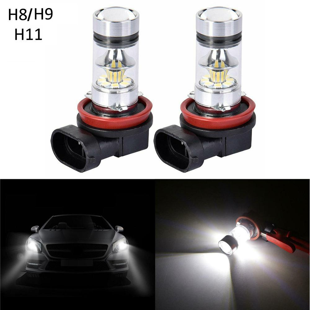 OLOMM 2PCS H11 H8 H9 Car LED Headlight 6500K 100W Fog Lights Conversion Kit 2000LM LED Lamps/Light Bulbs For Cars High/Low Beam