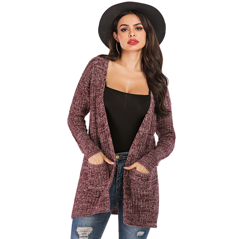 Autumn Fashion Women Long Sleeve Loose Knitting Cardigan Long Sweater Lady Elegant Knitted Jumper Christmas Sweater Winter Tops