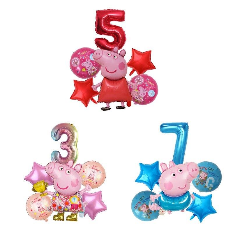 6 шт./компл. со Свинкой Пеппой; Вечерние праздничных воздушных шаров