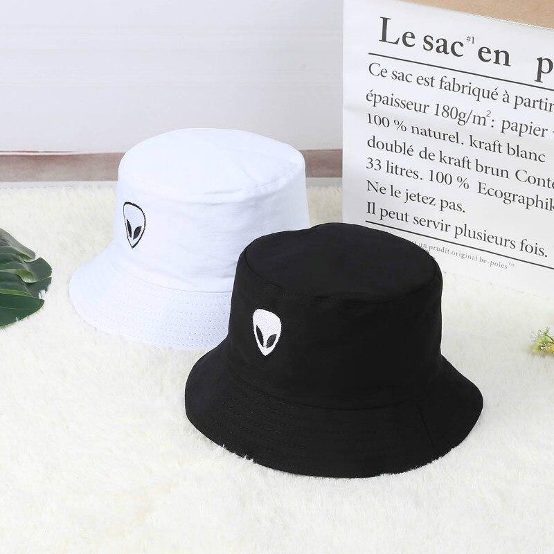 Black White Fisherman Cap Solid Hip Hop Alien Panama Bucket Hat Beach Punk Headwear Harajuku Foldable Sun Protector Floppy Korea