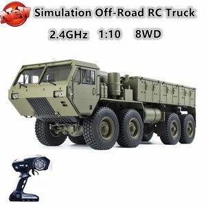Profesjonalna duża elektryczna zdalnie sterowana ciężarówka 74cm 1:12 2.4G 8WD symulacja Off-Road US Army Truck symulacja zdalnie sterowany Model Toy