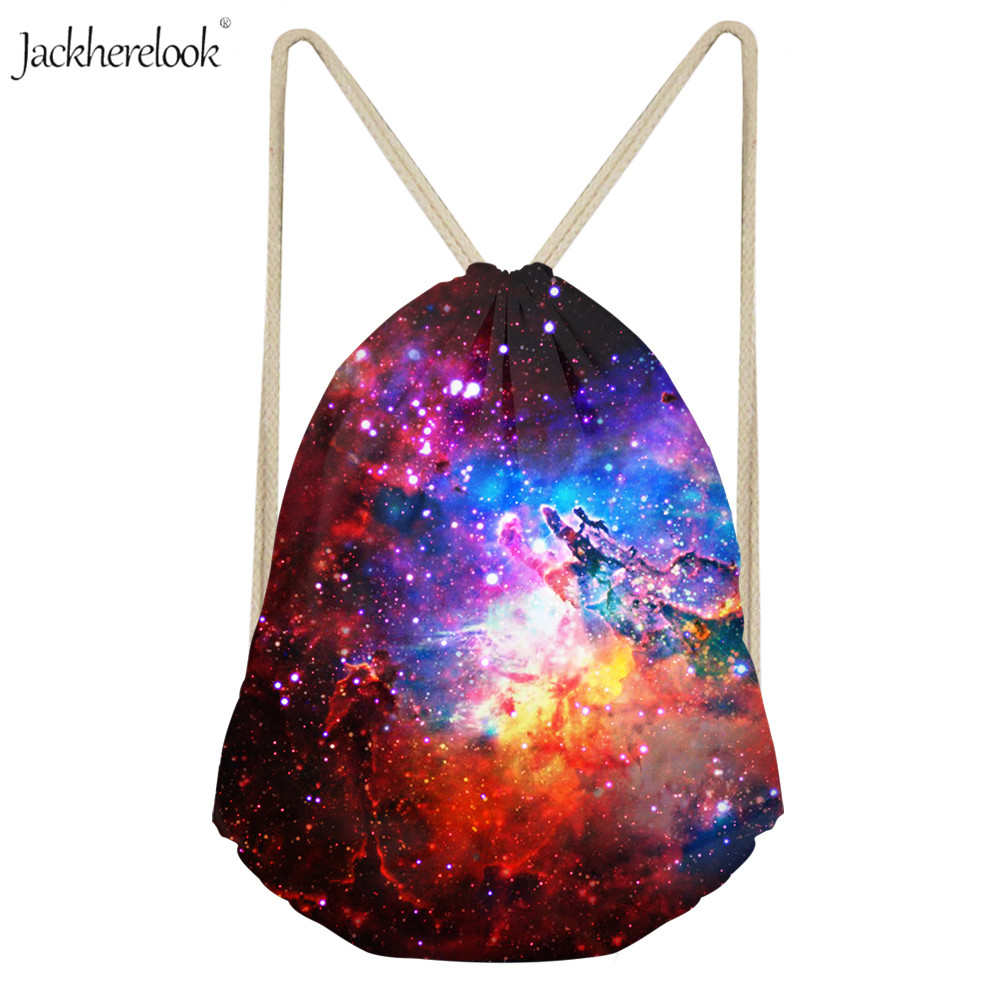 Jackherelook 3D Galaxy Space Print Drawstring For Teenage Boy/Girl Gym Backpack Pride Rainbow Daily Storage Pack For Youth Girls