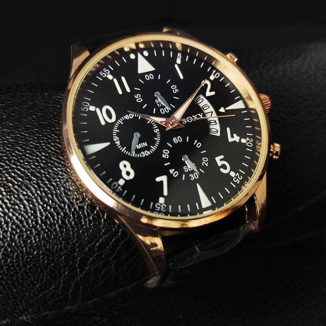 Men's Watches Classic Casual Luminous With Calendar Luxury Leather Watch Male Quartz Wristwatch relogio masculino saati hours
