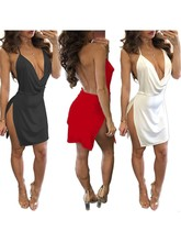 цена на Women Summer Sleeveless Solid White Wine Red Backless Strap Low-cut Dress Side Open Deep V-neck Sexy Temperament Mini Dress!
