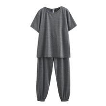 Women Summer Homewear Lady Two-Piece Set Female Solid Color T-shirt + Pants Fashion Plus Size Women'