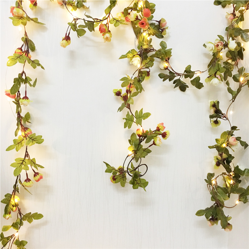 2.2M 30Leds Artificial Rose Flowers Leaves Vine String Lights AA Battery Power Hanging Copper Wire Garland Light For Wedding DIY