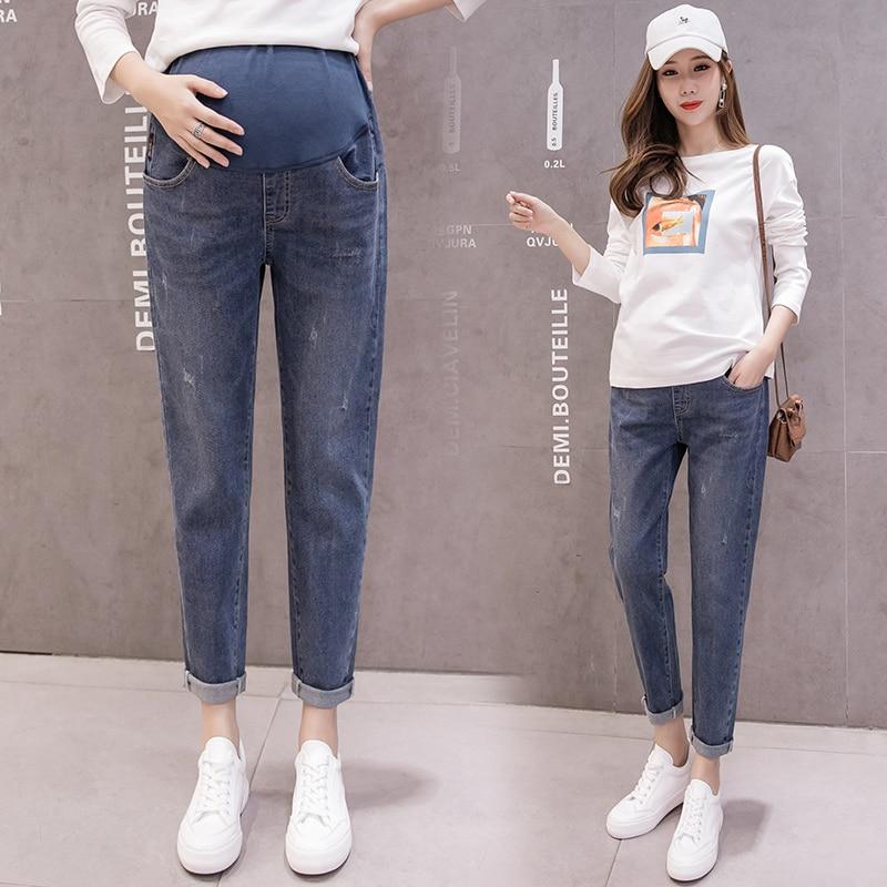 9532# Cotton Elastic Waist Belly Denim Maternity Jeans Spring Autumn Casual Harem Pants for Pregnant Women Pregnancy Trousers