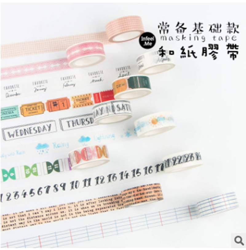 Creative Cute Travel Diary Decorative Week Washi Tape Diy Scrapbooking Adhesive Masking Tape School Office Supply Stationary