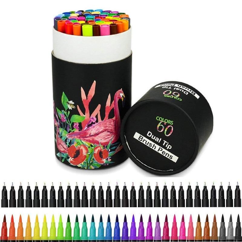 Unique 24/60 Pack Colorful Art Marker Dual Tips Coloring Pens Water Color Brush Non-toxic Double Head Color Pen